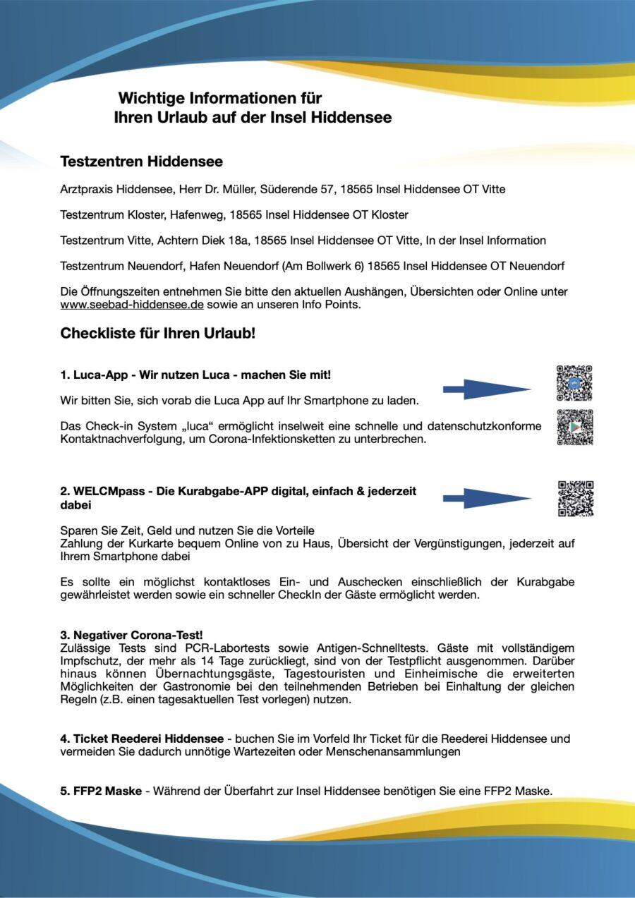 Checkliste Wichtige Informationen für Ihren Urlaub auf der Insel Hiddensee