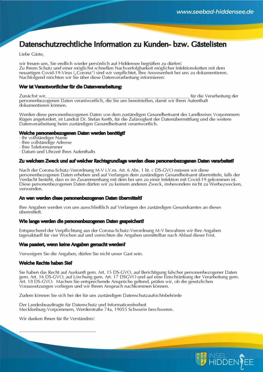Datenschutzrechtliche Information zu Kunden- bzw. Gästelisten