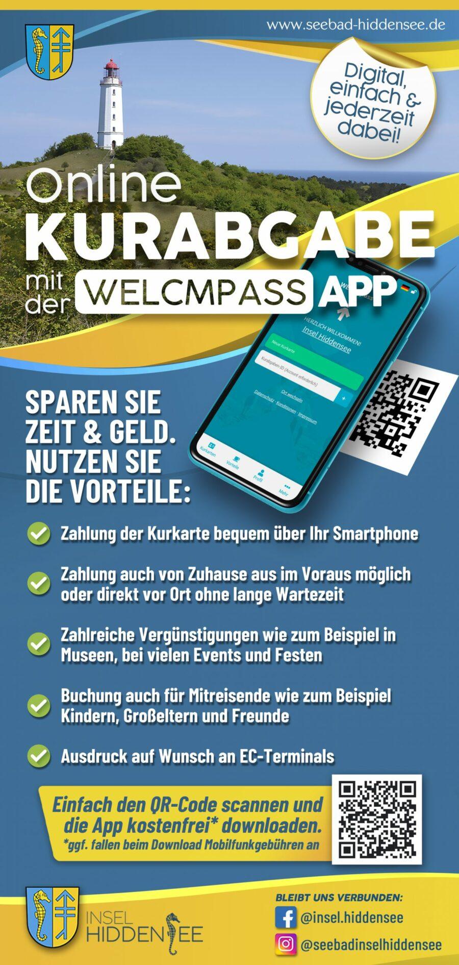 Online Kurabgabe mit der WelcmPass App